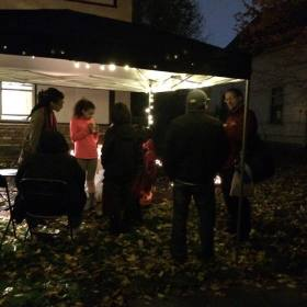 Neighbors stopping by for hot chocolate, candy and conversations